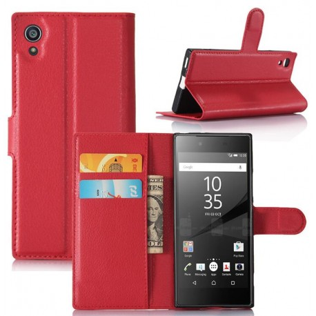 etui clapet protection cuir rouge pour sony xperia xa1. Black Bedroom Furniture Sets. Home Design Ideas