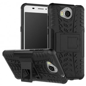 Protection Solide Type Otterbox Noir Pour Huawei Y6 2017