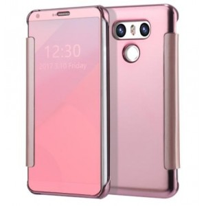 Protection Etui Flip Folio Dot View Rose Pour LG G6