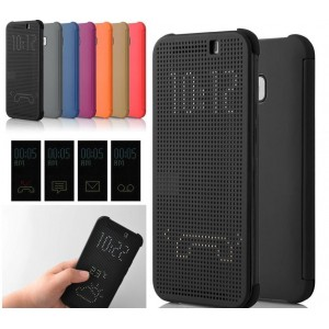Protection Etui Flip Folio Dot View Noir Pour HTC One S9