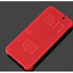 Protection Etui Flip Folio Dot View Rouge Pour HTC One S9
