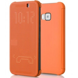 Protection Etui Flip Folio Dot View Orange Pour HTC One S9
