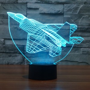 Avion militaire 3D Lampes Illusions Optiques, FZAI Amazing 7 Changing Colors Acrylique Touch Button Table Bureau Night Light