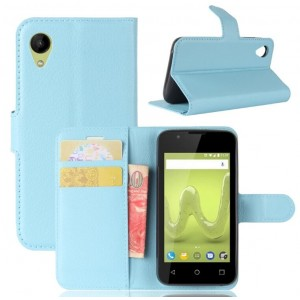Protection Intégrale Portefeuille Cuir Bleu - Wiko Sunny 2