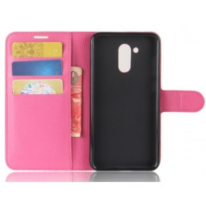 Protection Intégrale Portefeuille En Cuir Rose Pour Huawei Honor V9 Play