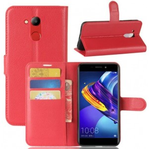 Protection Intégrale Portefeuille En Cuir Rouge Pour Huawei Honor V9 Play