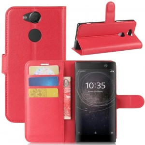 Protection Intégrale Portefeuille En Cuir Rouge Pour Sony Xperia XA2 Ultra