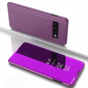 Housse Etui Flip Folio Dot View Violet Pour Samsung Galaxy S10 Plus