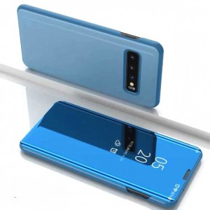 Protection Etui Flip Folio Dot View Bleu Pour Samsung Galaxy S10