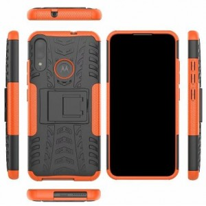 Protection Antichoc Type Otterbox Orange Pour Motorola Moto E6 Plus