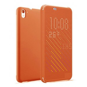 Protection Etui Flip Folio Dot View Orange Pour HTC Desire 826