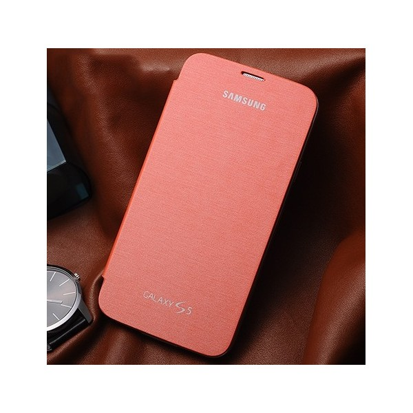 samsung galaxy s  etui clapet rabat cache batterie orange