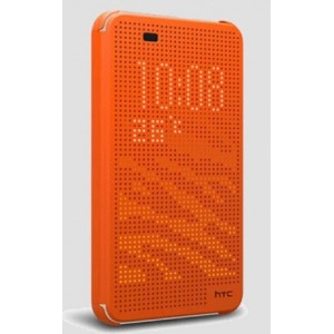 Protection Etui Flip Folio Dot View Orange Pour HTC Desire 626