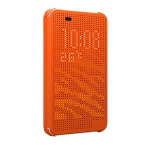 Protection Etui Flip Folio Dot View Orange Pour HTC Desire Eye