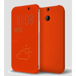 Protection Etui Flip Folio Dot View Orange Pour HTC One (M8)