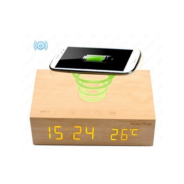 haut parleur bluetooth bois induction iphone 6s. Black Bedroom Furniture Sets. Home Design Ideas
