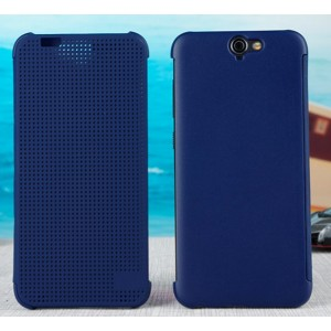 Protection Etui Flip Folio Dot View Bleu Pour HTC One A9