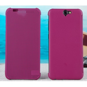 Housse Etui Flip Folio Dot View Violet Pour HTC One A9