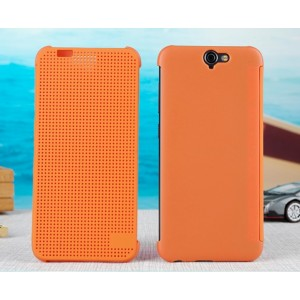 Protection Etui Flip Folio Dot View Orange Pour HTC One A9