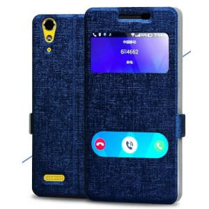 Protection Etui Flip Folio Dot View Bleu Pour Lenovo Lemon K3