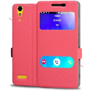 Protection Etui Flip Folio Dot View Rose Pour Lenovo Lemon K3