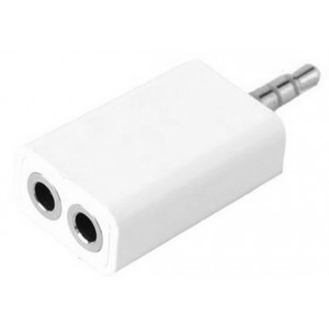 Adaptateur Double Jack 3.5mm Blanc Pour Wiko Selfy 4G Rubby