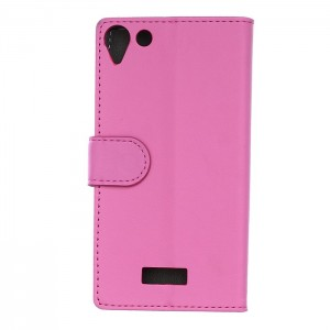 Etui Clapet A Rabat Cuir Rose Pour Wiko Selfy 4G Rubby