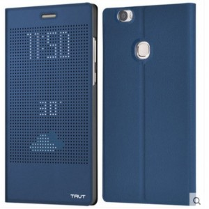 Protection Etui Flip Folio Dot View Bleu Pour Huawei Honor 8
