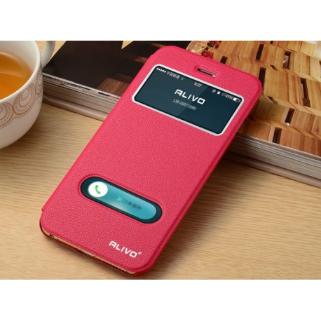 Housse etui clapet fen tre cuir iphone 7 plus rouge for Housse pour iphone 7