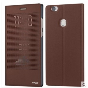 Housse Etui Flip Folio Dot View Marron Pour Huawei Honor V8 Max