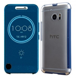 Protection Etui Flip Folio Dot View Bleu Pour HTC 10